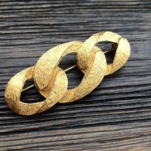 Vintage Napier Gold Ribbon Brooch